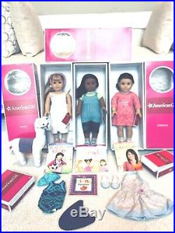American Girl Doll Retired Gwen, Sonali, Chrissa, Llama and Outfit Set