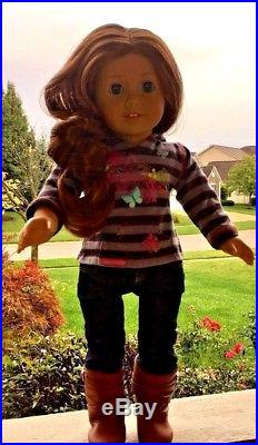 American Girl Doll Saige Meet Outfit + Extra Outfit Earrings Excellent Condition