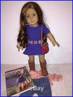 American Girl Doll Saige With Extra Outfit, Ring, Book