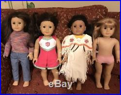 American Girl Dolls Lot of 4 Dolls with outfits and pierced ears
