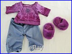 American Girl GOTY CHRISSA's CRAFT STUDIO Table & PAJAMAS OUTFIT LOT Retired NEW