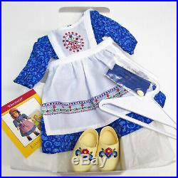 American Girl KIRSTEN'S BAKING OUTFIT Swedish Apron Shoes Dress Hair Ties BOX