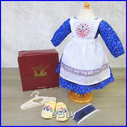 American Girl KIRSTEN'S BAKING OUTFIT'Wooden' Shoes Apron Dress Hair Ties BOX +