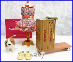 American Girl KIT'S HOMEMADE SCOOTER OUTFIT & DOG Basset Hound Grace Shoes BAG