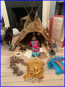 American Girl Kaya with tepee, outfits, Steps High horse. Very good condition