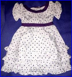 American Girl Kirsten Midsummer Outfit with Dotted Dress, Flowers, Basket