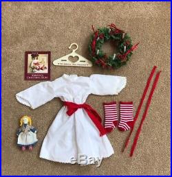 American Girl Kirsten Saint Lucia Christmas Outfit Gown, Wreath, Doll, Socks +