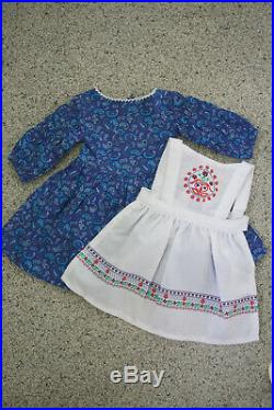 American Girl Kirsten's Baking Outfit Retired Dress Apron Ribbons Shoes