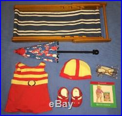 American Girl Kit 1934 Swimsuit Outfit with Beach Chair, Floral Parasol, Shoes
