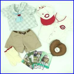 American Girl Kit Cincinnati Reds Fan Outfit Baseball Glove Ball Cards COMPLETE