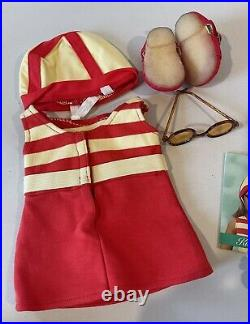 American Girl Kit Kittredge 1934 Swimsuit Outfit Floral Parasol Chair- Retired