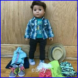 American Girl LOGAN EVERETT Doll 18 Boy with Meet Outfit EUC + 2 Outfits Lot