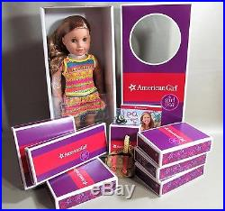 American Girl Lea 18 Doll Meet Outfit Book Bag Compass Many Extras -nib Nrfb