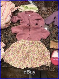 American Girl Lot 3 Dolls Kit, Addy, Kaya, desk, chair, school bag, outfits, pjs