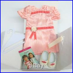 American Girl MOLLY'S RECITAL OUTFIT Peach Satin Dress Shoes Hair Bows Cards BOX