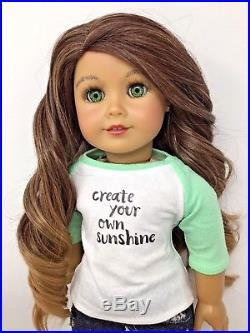 American Girl Mimi OOAK Custom Doll Long Brown Hair Green Eyes New Outfit