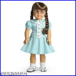 American Girl Molly's Aqua Polka Dot Outfitblouseskirtsocksshoesnib