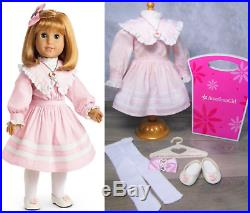 American Girl NELLIE SPRING PARTY DRESS Outfit Heart Necklace Barrette Shoes BOX
