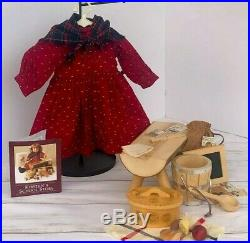 American Girl Pleasant Co Kirsten School Outfit, Bench, Lunch Box, & Accessories
