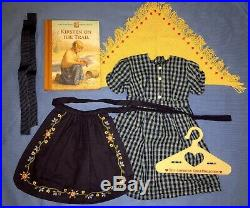 American Girl Pleasant Company Kirsten Checked Dress On The Trail Apron Outfit