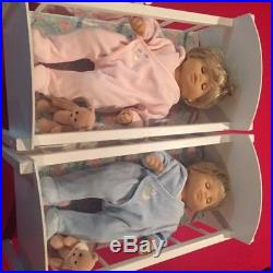 American Girl Retired Bitty Baby Twins Boy & Girl Blonde WithOutfits and more