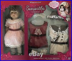 American Girl SAMANTHA 18 DOLL & TWO OUTFITS Party & Fancy Coat + Book NEW
