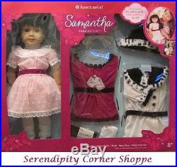 American Girl Samantha Doll Holiday Party Dress Outfit & Coat Set and Book NIB