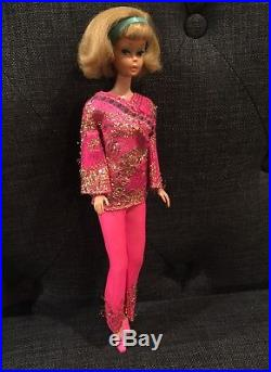 American Girl Side Part Ash Blonde Barbie Doll in Bright & Brocade Mod Outfit