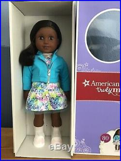 American Girl Truly Me #80 doll, dark skin textured hair, outfit & box, perfect