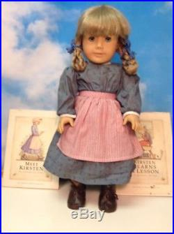American Girl WHITE BODY KIRSTEN Doll PLEASANT COMPANY Meet Outfit! (B)