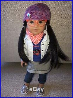 American Girl Z Yang Doll + Film Accessories + 2 outfits +Z's dog Popcorn