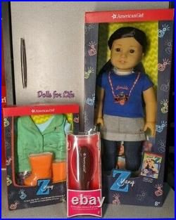 American Girl Z Yang Doll with Rainy Day Outfit AND Hairbrush NEW