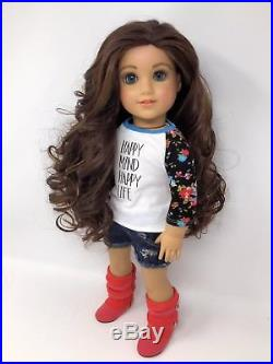 American Girl Zoey OOAK Custom Doll Curly Brown Hair Blue Eyes New Outfit