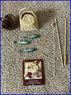 American Girl doll Kirsten Fishing Outfit, Straw hat & accessories RETIRED
