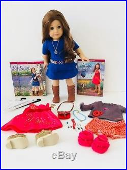 American Girl doll Saige, 2 Outfits, Pjs, Accessories, DVD Movie, Books, Hangers