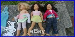 American Girl doll lot 3 dolls plus outfits preowned condition