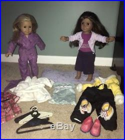 American girl LOT of 2 dolls, clothes/outfits, yoga mat, extras, Marisol &JLY
