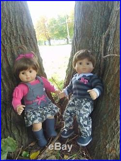 American girl bitty baby twins brown hair- brown eyes in New camo outfits