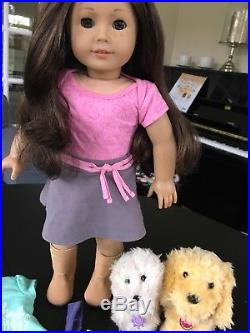 American girl just like you hazel/green eyes, dark hair, lots of outfits and pet
