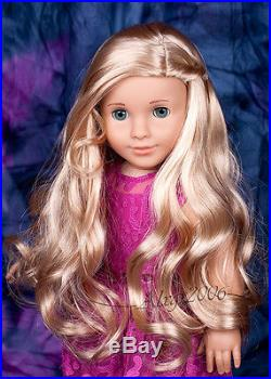 Custom American Girl Doll blue eyes Mary Grace Tenney blond wig OOAK new outfit