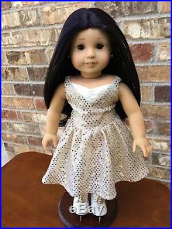Custom Asisn American Girl Doll with Glitter Hair And Ice Skating Outfit