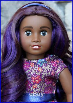 Custom OOAK American Girl Doll Vivian in Outfit Purple Hair New Eyes
