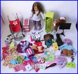 Huge Lot of American Girl Brown Hair Doll Outfits Horse Locker Accessories