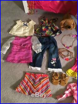 Julie American Girl Doll, Bed, Outfits, Accessories And Dog Huge Lot