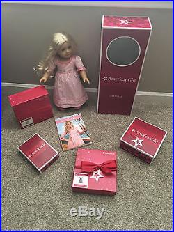 LOT Retired American Girl 18 inch Caroline Doll +Outfits + Dog