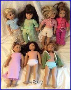 Lot of 7 American Girl Dolls 18 with Outfits 2008 Pleasant Company Just Like You