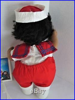 Mattel MY Child Doll African American Girl Black Hair red-white-blue outfit 1985