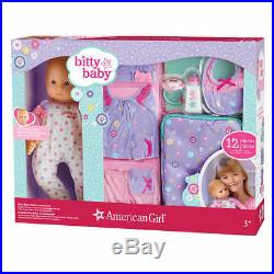 NEW American Girl 15 Bitty Baby 12-pc Set Fiar Skin Blond Hiar Blue Eyes Outfit