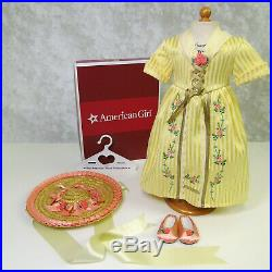 NEW American Girl Doll FELICITY TEA LESSON Yellow GOWN Outfit Hat Shoes AG BOX
