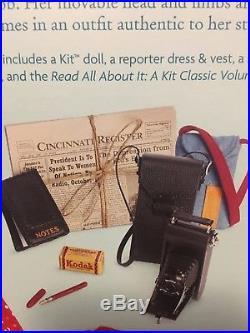 NEW American Girl Kit 18 Dol, 2 Outfits BONUS Reporter Set Dress Book Camera